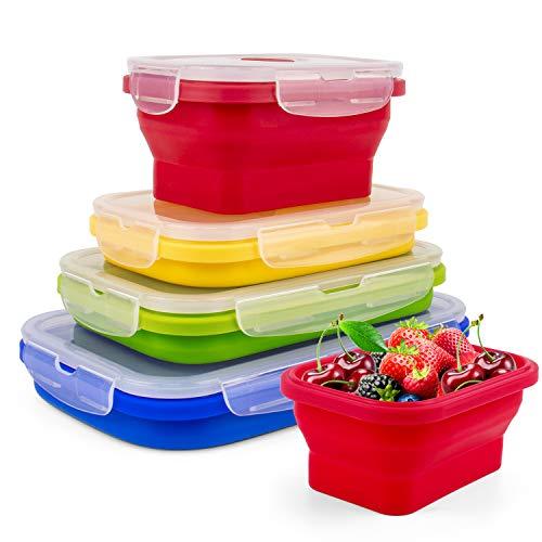 Suddefr Contenedores de almacenamiento de alimentos, plegables con tapa hermética y válvula de ventilación, fiambrera de silicona para microondas, congelador y lavavajillas, juego de 4.
