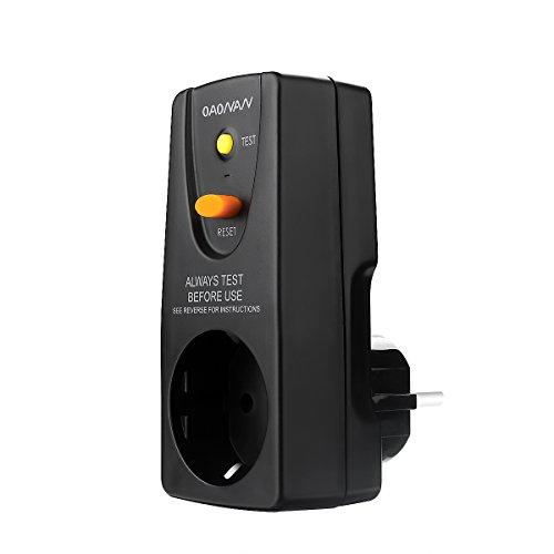 OAONAN Fi Schutzschalter Steckdose von FI Stecker 16 AMP für Haushalt Geräte und Werkzeuge - Schwarz
