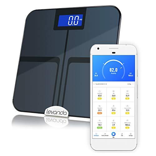 Levanda Báscula digital de grasa corporal, para análisis corporal y peso corporal, con aplicación, medición de porcentaje de grasa, masa muscular y IMC