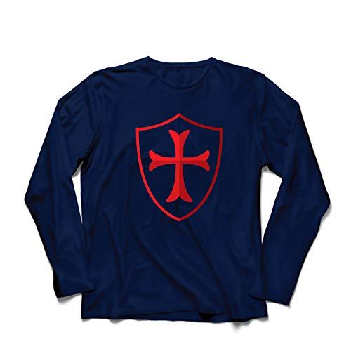 lepni.me Camiseta de Manga Larga para Hombre Escudo de los Caballeros Templarios, Cruz Roja, Orden de Caballeros Cristianos (XX-Large Azul Multicolor)