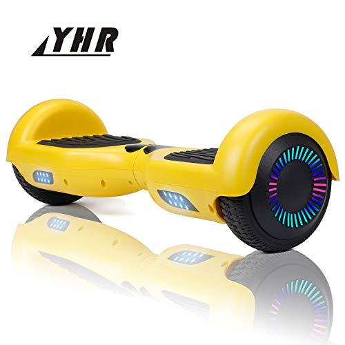 YHR Hoverboard da 6,5 Pollici per Bambini e Adulti, 2 Ruote Hoverboard autobilanciante con Luce Colorata, Monopattini con Borsa Carrg Gratuita e Caricatore Europeo