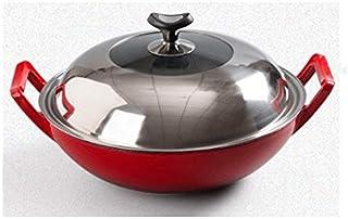 ZLDGYG Fer Pan, à la main en fer forgé Pan, non couché fer antiadhésive, Ménage Cuisine Wok