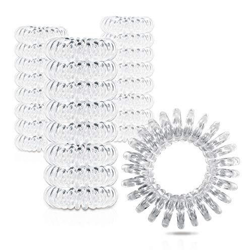 ZWOOS 50 Stück Klare Haargummis, spiralförmige Haarbänder, Elastisches Spule Haarband für Damen und Mädchen - Durchmesser: 30 mm, Dicke: 10 mm