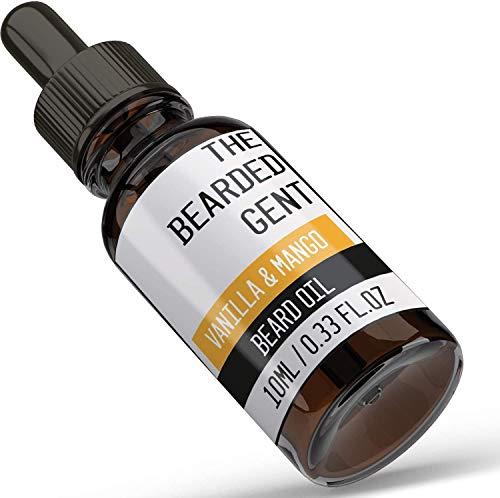 The Bearded Gent Beard Oil - Moisturiser & Conditioner for Men's Facial Hair & Skin - Argan, Jojoba & Grapeseed Oils - Helps Prevent Itching & Dandruff - Softener, Thickener (Vanilla & Mango 10ml)
