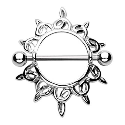 Paula & Fritz® tepelpiercing tepelpiercing vrouw maenner intieme piercing man tepel piercing schild kiemende harten zilver roestvrij staal chirurgisch staal 316L KFV930