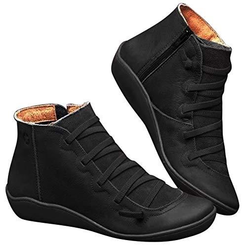 Huaheng lederen enkellaarzen herfst Vintage Lace Up vrouwen schoenen comfortabele platte hak laarzen rits korte laarzen Sneeuwlaarzen 43 EU Zwart