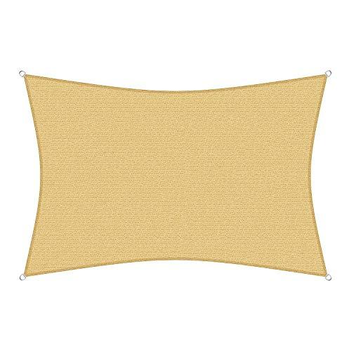 sunprotect 83216 Professional Sonnensegel, 3,5 x 4,5 m, Rechteck, Wind- & wasserdurchlässig, beige
