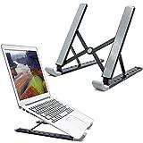 RioRand Portátil Soporte para Laptop Plegable Ergonómico de Aluminio Universal Ventilado para Macbook y Notebook 9 Velocidad Altura Ajustable (Negro)