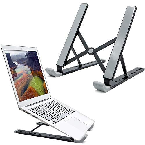 RioRand Supporto Portatile per Laptop Supporto da scrivania Pieghevole Universale ventilato per MacBook e Notebook in Alluminio a 9 velocità Regolabile in Altezza-Nero
