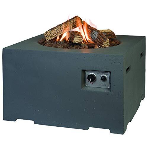 M A N I A Feuertisch für den Garten - Gas Feuerstelle ohne Rauch, Funken, Glut & Asche - Gaskamin Outdoor mit 19,5 kW in Betonoptik grau 76 x 76 x 46 cm - Gasfeuerstelle Terrassenkamin Kaminfeuer
