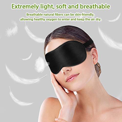 Schlafmaske Kasimir Naturseide Augenmaske für Damen und Herren 100% Hautfreundlich Schlafbrille für komplette Dunkelheit Bequeme Ultraweiche Nachtmaske für Reisen, Schichtarbeit, Nickerchen und Hause