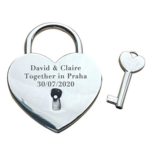 Silver Love Heart Personalized Locked in Love Padlock (Large - 58mm) / Custom Engraved Keepsake Lock.