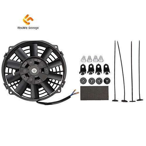 Madlife Garage - Ventola di raffreddamento elettrica universale per il radiatore del motore -linea sottile e lame curve - potenza 12V 80W - dimensioni 17,78 cm