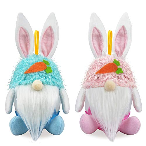2Pcs Easter Bunny Gnomes Candy Jar Ornaments - Spring Easter Decorations - Large Easter Rabbit Cookie Candy Storage Container Jar for Home Office - Spring Easter Party Bunny Gnomes Hanging Ornament