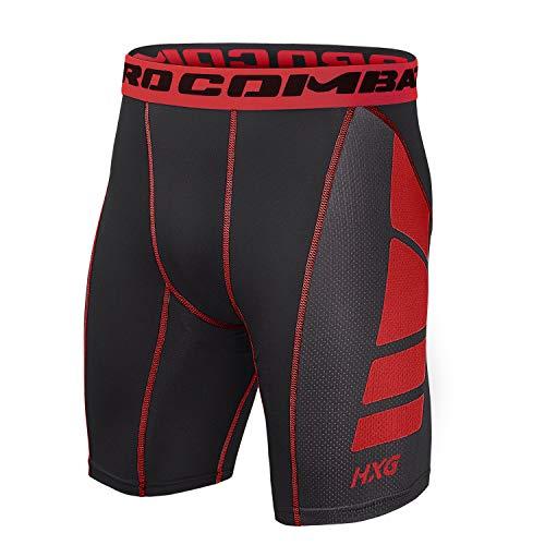 Hivexagon Pantalones Cortos de Compresión de Media Pierna para Deportes, Correr y Entrenamiento de Gimnasio SM008RDL