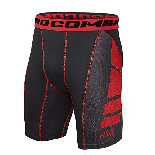 Hivexagon Pantalones Cortos de Compresión de Media Pierna para Deportes, Correr y Entrenamiento de Gimnasio SM008RDXL