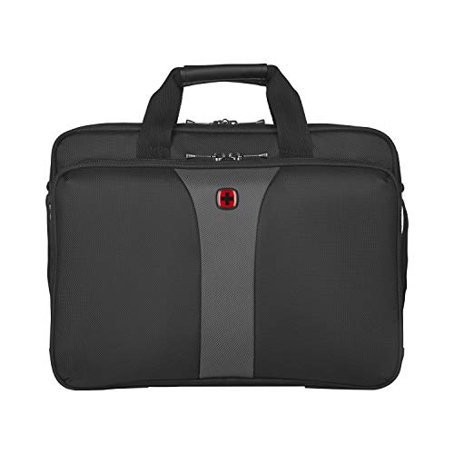 Wenger 600648 LEGACY 16 Inch Double-Gusset Laptop Case, Airport-Friendly Case with Padded Triple Protect Compartment in Black/Grey {15 Litre}