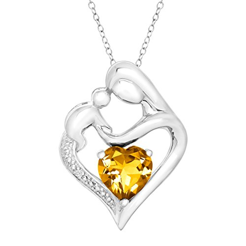 Natural Citrine Mother and Child Heart Pendant w Diamond in Silver (.003 ct, I-J Color, I3 Clarity),...