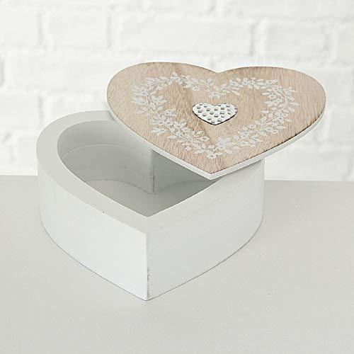 CasaJame Hogar Accesorios Adorno Joyero Caja de Madera en Forma de Corazón con Tapa Decorada Flores 16x16x6cm