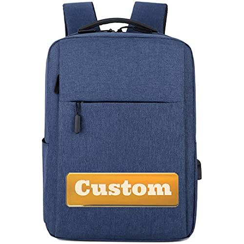FireH Nome personalizzato Uomo Zaino Borsa per computer portatile da 17 pollici Donne Notebook per uomo (Color : Blue, Size : One size)