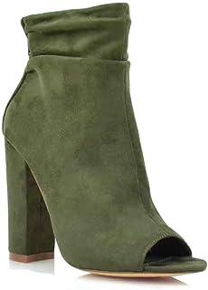 d119ede00437 Women s Open Toe Slouch Ankle Booties Back Zipper Block Chunky Heel Shoe  Boots