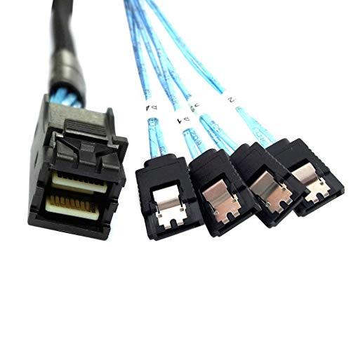 ChenYang Internes Kabel, Mini-SAS SFF-8643 Host auf 4 SATA 7-polige Festplatten-Fanout, 6 Gbit/s, Datenserver, Raid-Kabel, 50 cm