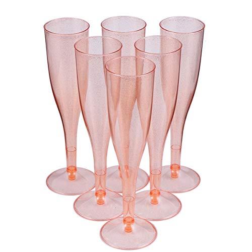 Tomaibaby 30Pcs Flautas de Champán de Plástico Desechables Copas de Cóctel Banquete Copas de Vino Tinto Copa para Beber para Suministros de Fiesta para Banquete de Boda Oro Rosa