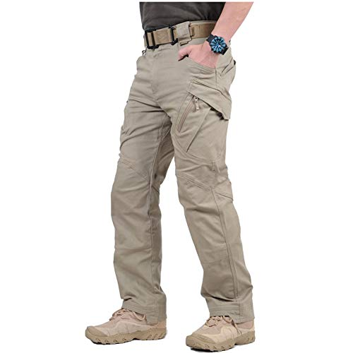 CARWORNIC Gear Men's Tactical Military Cargo Pants SWAT Stretch Cotton Outdoor Hiking Airsoft Trousers with Multi-Function Pockets Khaki