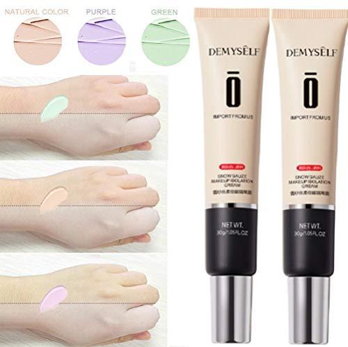 (2 pièces) crème correcteur de couleur hydratante blanchissante fond de teint crème pour le visage à couverture complète apprêt anti-rougeurs vert 30g (VIOLET)