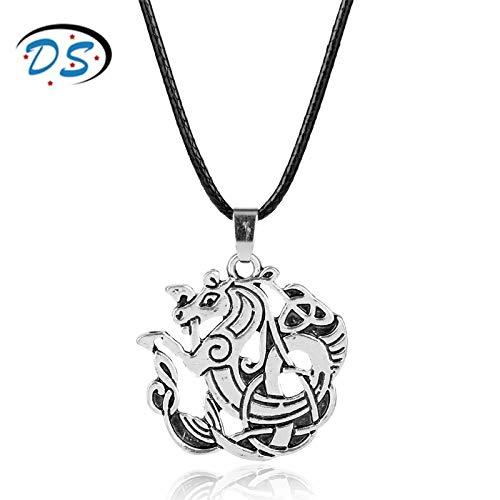 YUNMENG Outlander Jewelry Retro Hollow Irish Triangle Nudo Dragón Colgante Collar Cordón de Cuero Encantos Cuello de Encaje