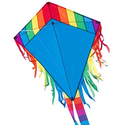 CIM Kinder-Drachen - Maya Eddy Blue - Einleiner-Flugdrachen für Kinder ab 3 Jahren - 65x74cm - inkl. 80m Drachenschnur und 2x250cm Streifenschwänze