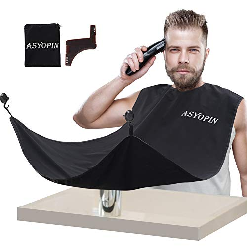 Beard Hair Catcher, Beard Bib For Shaving and Trimming,Non-Stick Cloth,Waterproof,Beard Apron Catcher for Mens Grooming,One Size Fits All,Adjustable Velcro at Neckline,Black