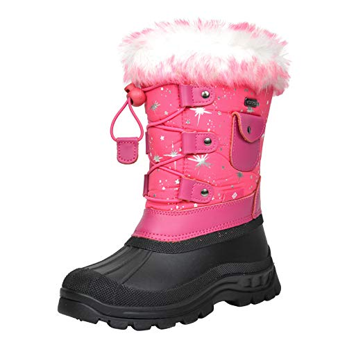 DREAM PAIRS Little Kid Ksnow Fuchsia Isulated Waterproof Snow Boots - 11 M US Little Kid