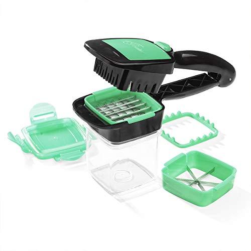 Nicer Dicer Quick | Rebanadora portatil de frutas y verduras | Cuchillas de acero inoxidable | Corta, Pica, Rebana, Cubos | 10 Veces más rápido | Fácil de limpiar | Color Verde