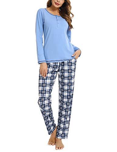 Hawiton Schlafanzug Damen Pyjama Lang Kariert Nachtwäsche Set Baumwolle Zweiteiliger...