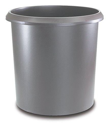 Läufer 26503 Papierkorb Allrounder 18 Liter, grau, rund, Mülleimer mit Griff, stabiler Kunststoff