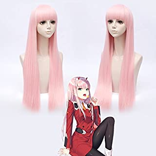 Mersi Long Pink Wigs for Women Girls Anime Costume Hair Wig with Bangs Fashion Wigs for Halloween Cosplay Psrty S047PK