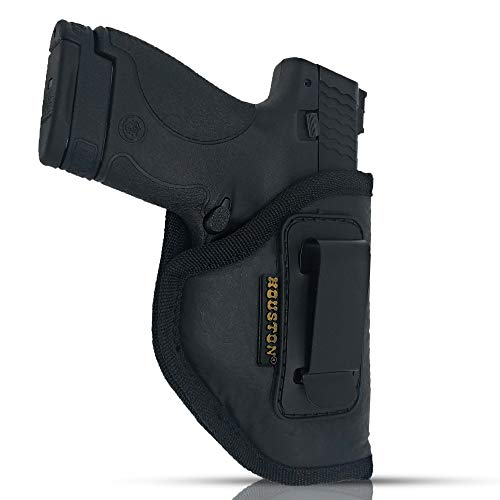 IWB Gun Holster by Houston - ECO Leather Concealed Carry Soft Material | Fits Glck 26/27/33, Shield, XDS, Taurus 709, Taurus Pro C, Walther P22, Beretta Nano, SCCY Sky.Rug LC9 (Right Hand)