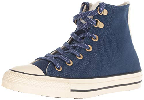 Converse - Sneaker alte da donna Chuck Taylor All Star in pelliccia sintetica, blu (Navy/avorio naturale.), 42.5 EU