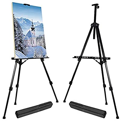T-SIGN 66 Inch Artist Easel Stand, Upgrade Art Paint Easle Aluminum Metal Tripod Display 17 to 66 Inch Adjustable Height, Portable Bag for Floor/Table-Top Drawing and Displaying