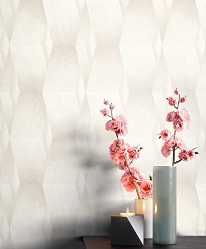 NEWROOM Tapete Creme Vliestapete Leicht Glänzend - Mustertapete Grafisch Beige Streifen 3D-Optik Grafiktapete Geometrisch inkl. Tapezier-Ratgeber