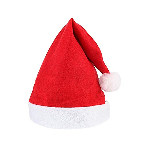 POPULAR Christmas Cap Santa Claus Cap, 100% Comfortable and Flexible, RED with White Color, Santa Claus HAT (Cap) Free Size Easy to WEAR- Party-Fun-Unlimited 6 PS Pack | Christmas Cap|