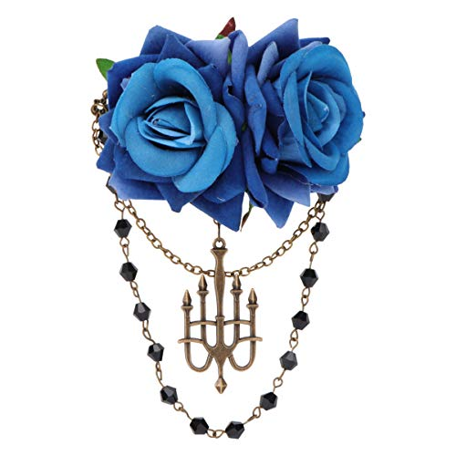 PIXNOR Pinza de Pelo Gótica Broche de Flor de Rosa Vintage Pasadores de Cadena Real para Cosplay de Halloween (Azul)