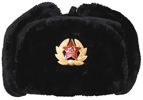 MFH Russ. Fellmütze, schwarz, mit Abzeichen, Schwarz, (XL)
