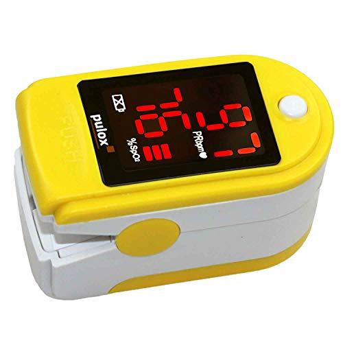 Pulsoximeter PULOX PO-100 mit LED-Anzeige inkl. Hardcase, Schutzhülle, Nylontasche und Trageband Fingerpulsoximeter Farbe: gelb