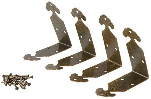 LAUBLUST 4 Stück Truhen-Beschläge/Winkel - Jugendstil Messingfarben, ca. 40x40x15mm   Deko für Kisten & Möbel