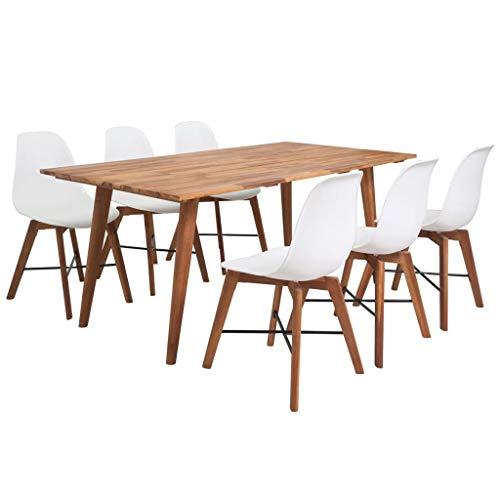 pedkit Conjunto de Comedor Mesa Salón y Sillas,Muebles de Jardin Exterior de Madera de Acacia 7 Piezas Blanco