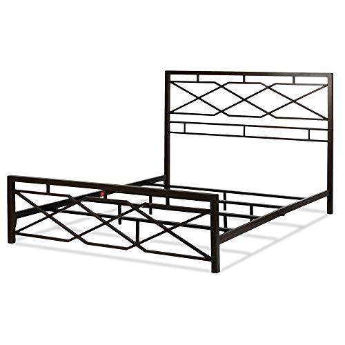 Leggett & Platt Alpine Metal SNAP Bed with Folding Frame Bedding Support System and Geometric Panel Design, Rustic Pewter Finish, California King