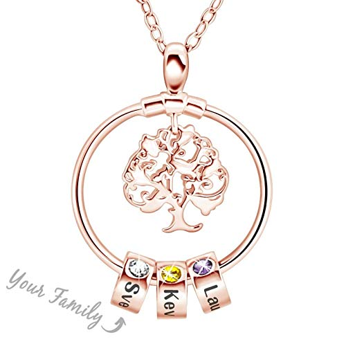 Tree of Life DIY Pearl Necklace, Necklace Tree Pendant Charm Chain with Colorful Crystals Necklace Stainless Steel Fashion Jewelry Gift Hollow Wishing Tree Clavicle Chain Female,C