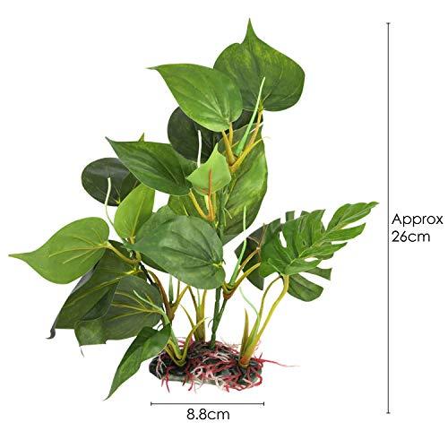 DIGIFLEX 20 cm künstliche Aquariumpflanze, grüne echt aussehende Aquarium-Zierblätter, Plastikpflanzen für Aquarien - 4